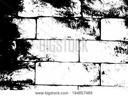 Grunge texture of large brick wall in white black. Vector illustration