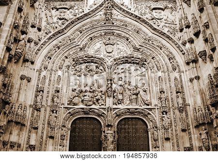 Facade of ancient Cathedral in Salamanca, Spain