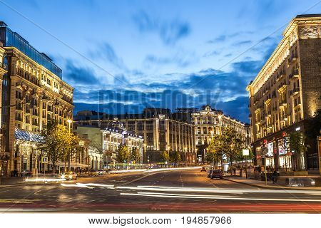 Moscow Russia - July 2017: View of Tverskaya street from Manezhnaya square at summer sunset with car trails. Tverskaya Street is main street of Moscow Russia.