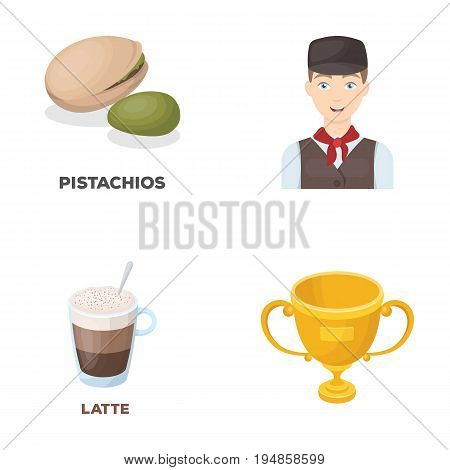 food, drink and other  icon in cartoon style.service, sport icons in set collection.