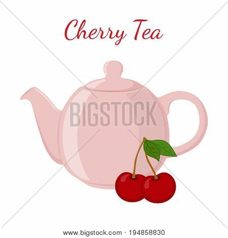 Cherry tea in teapot with berries. Healthy organic natural fruit tea. Vector illustration. Made in cartoon flat style