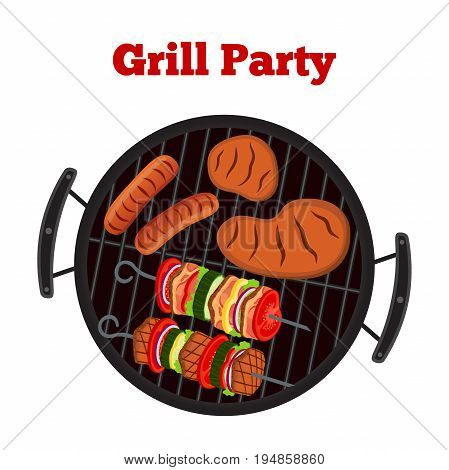 Barbecue set - grill station, sausage, fried meat, shashlik. Picnic vector illustration. Made in cartoon flat style