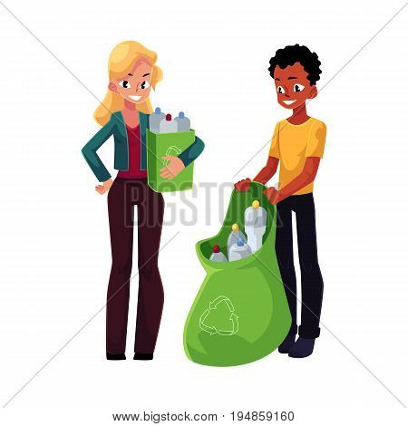Man and woman collect plastic bottles in garbage bag and trash bin, waste recycling, cartoon vector illustration isolated on white background. People, man and woman with bag and box of plastic bottles