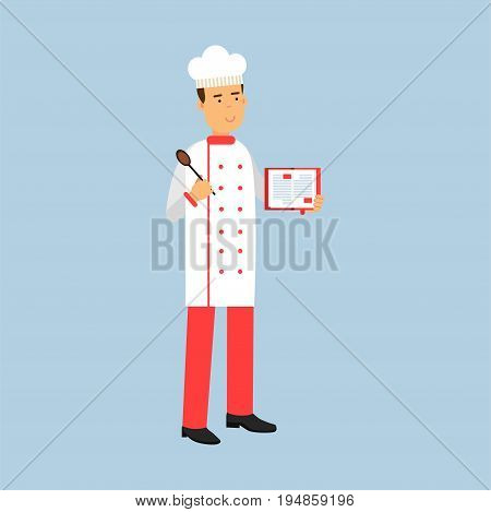 Male chef cook character in uniform standing and holding recipe book and spoon vector Illustration on a light blue background