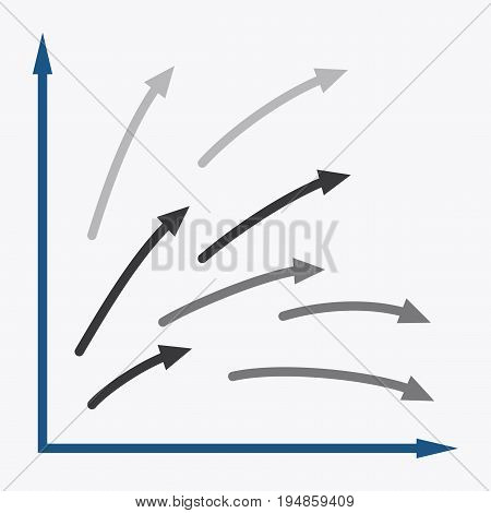 flat icon on stylish background Arrow chart