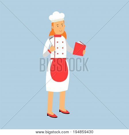 Female chef cook character in uniform standing and holding recipe book and ladle vector Illustration on a light blue background