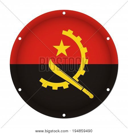 round metallic flag of Angola with six screw holes in front of a white background