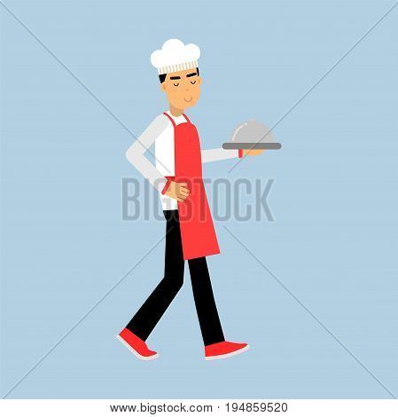 Male chef cook character in uniform walking with platter cloche vector Illustration on a light blue background