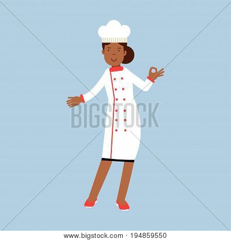 Female chef cook character in white uniform giving a perfect ok delicious cook gesture vector Illustration on a light blue background
