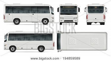 Minibus vector template for car branding and advertising. Isolated city mini bus set on white background. All layers and groups well organized for easy editing and recolor. View from side front back top.