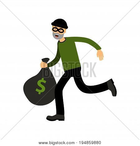 Robber character running with big money bag vector Illustration on a white background
