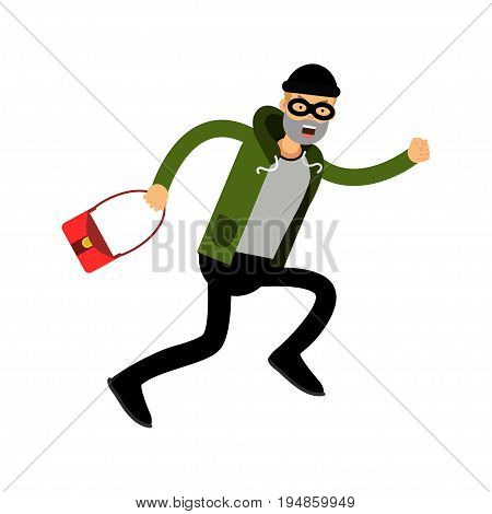 Robber character running with red female bag vector Illustration on a white background