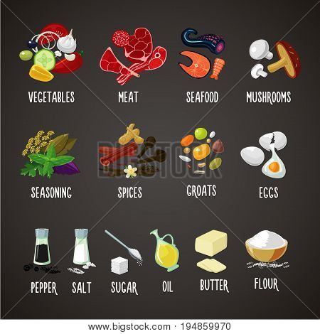 Meat, vegetables, seaoning, spices and grains. Cooking ingredients isolated colors icons set. Realistic food vector illustration