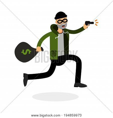 Thief in a mask running with a gun and money bag character vector Illustration isolated on a white background