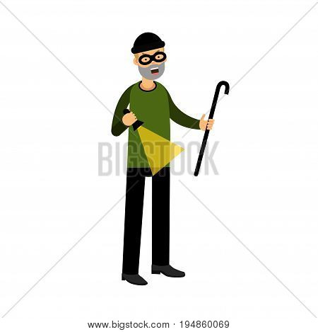 Professional masked burglar character with a crowbar and a flashlight vector Illustration on a white background