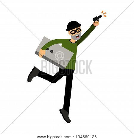 Thief character running with a safe and gun vector Illustration on a white background
