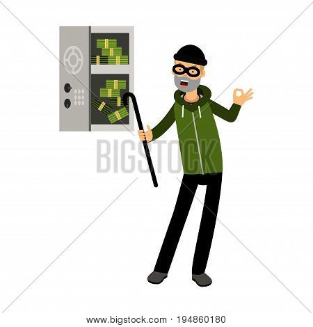 Professional burglar character in a mask opened a safe with money with character vector Illustration on a white background