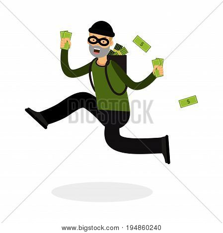 Thief in a mask character running with a backpack full of money vector Illustration on a white background