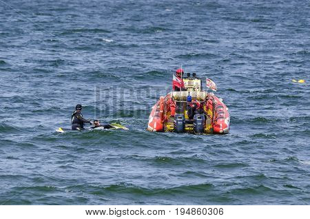 KOLOBRZEG, WEST POMERANIAN / POLAND: Motorboat of the Polish Maritime Rescue Service SAR on patrol of coastal waters
