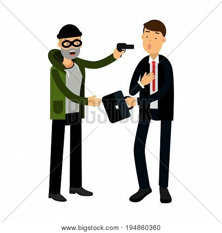Masked thief character stealing briefcase from businessman vector Illustration on a white background