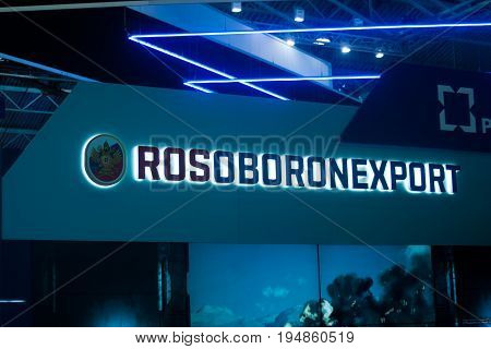 Saint Petersburg Russia - July 02 2017: International naval salon. The logo on the stand of the company Rosoboronexport - the largest dealer of Russian weapons. Horizontal.