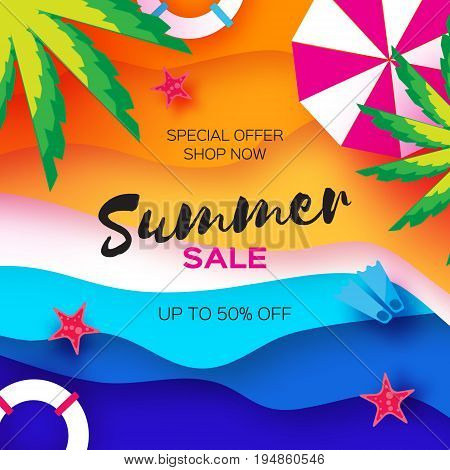 Summer Sale Template banner. Beach rest. Summer vacantion poster. Top view on colorful beach elements. Space for text. Paper art style. Vector