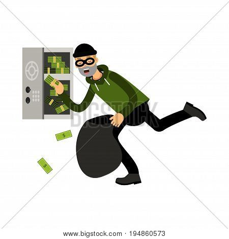 Professional masked burglar character stealing money from an open safe vector Illustration on a white background