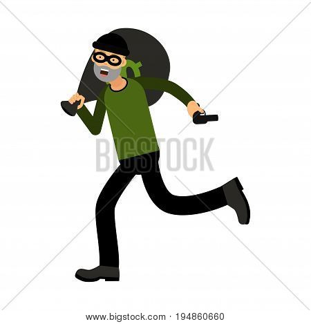 Professional masked robber character running with a gun and money bag vector Illustration isolated on a white background