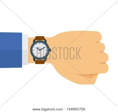 Hand of male businessman in blue suit checking time on his wristwatch. Flat cartoon style vector concept illustration of watch isolated on white.