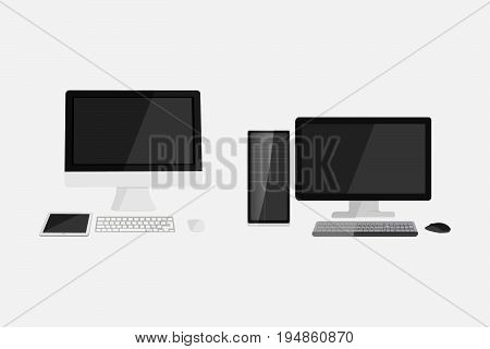 Flat dekstop computer vector illustration design. Mac and windows computer