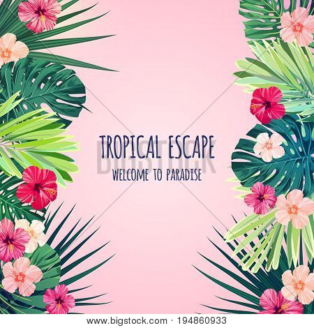 Floral postcard design with hibiscus flowers, monstera and royal palm leaves. Exotic hawaiian background. Vector illustration.