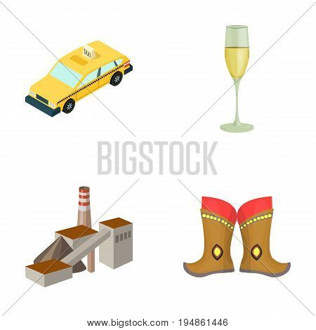 Taxi, glass of wine and other  icon in cartoon style.factory, boots icons in set collection.