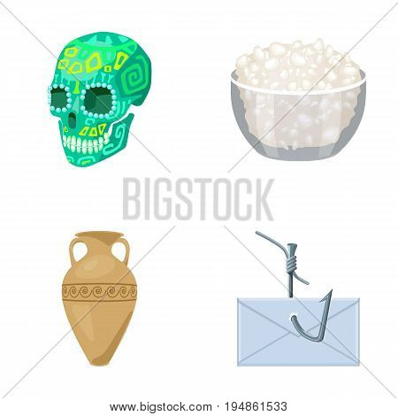 Skull, bowl of cottage cheese and other  icon in cartoon style. amphora, post on the hook icons in set collection.