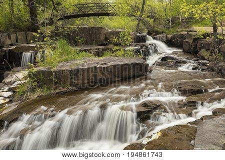 Miller Creek Waterfall & Footbridge Scenic Landscape