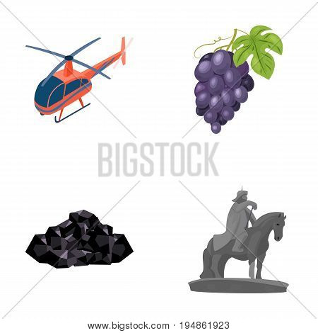 Helicopter, grapes and other  icon in cartoon style. ore, Mongolian rider icons in set collection.