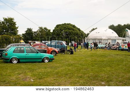 Saint Petersburg Russia - July 08 2017: Festival of old Volkswagen cars Bughouse Fest 2017 . The audience visiting the exhibition. Krestovsky island.