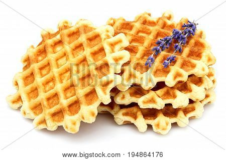 Round Belgian waffles with lavender isolated on white background.