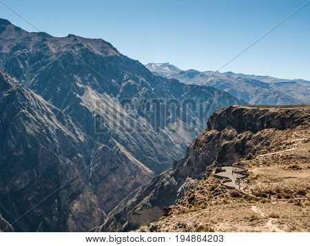 The Colca canyon seen from Cruz del Condor viewpoint Chivay Peru