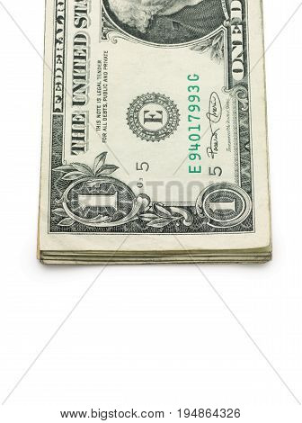 A Stack of One Dollar Bills on a White Background