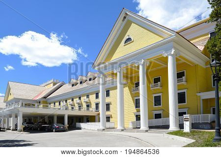 YELLOWSTONE NATIONAL PARK, WYOMING - JUNE 25, 21017: The Lake Hotel. The oldest and finest accommodation in the park is celebrating its 125th anniversary.