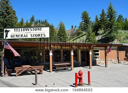 YELLOWSTONE NATIONAL PARK, WYOMING - JUNE 25, 21017: Tower Fall General Store. Yellowstone General Stores has a total of 12 stores conveniently located around the park in all major areas.