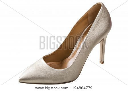 Weddings white shoe isolated on white background with clipping path