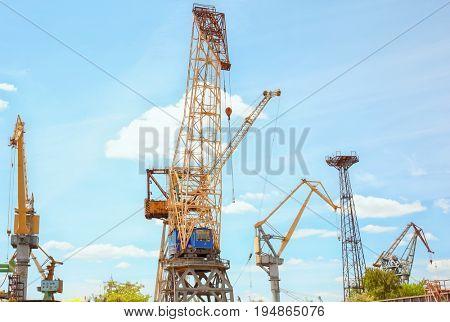 Hoisting cranes in shipyard