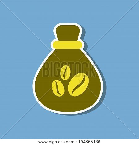 paper sticker on stylish background of bag roasted coffee