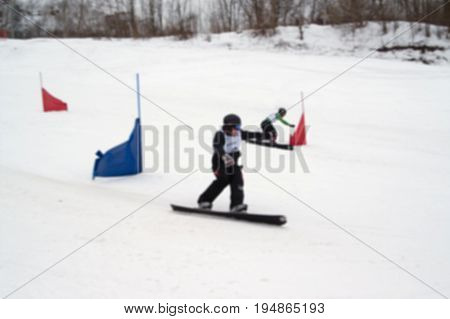 Blurred View Of Snowboard Giant Parallel Slalom Competitions