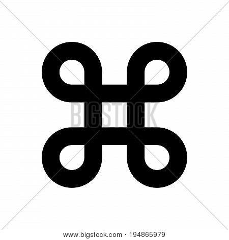 Bowen knot symbol for command key. Simple flat black illustration on white background.