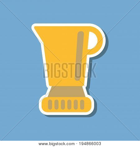 paper sticker on stylish background of coffee maker