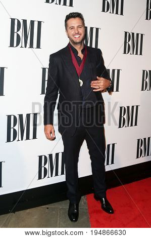 NASHVILLE, TN-NOV 3: Recording artist Luke Bryan attends the 63rd annual BMI Country awards at BMI on November 3, 2015 in Nashville, Tennessee.