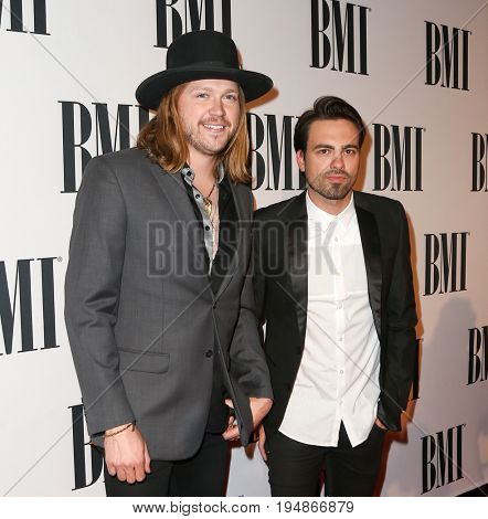 NASHVILLE, TN-NOV 3: Recording artists Michael Hobby (L) and Zach Brown of A Thousand Horses attend the 63rd annual BMI Country awards on November 3, 2015 in Nashville, Tennessee.