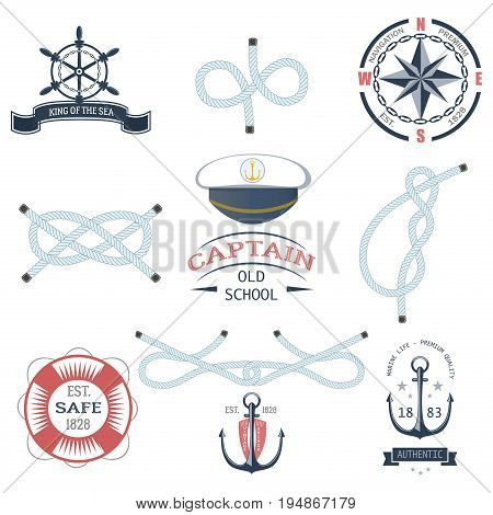 Set of vintage nautical labels, icons and design elements vector. Vintage vector sea anchor rope ribbon design. Premium quality nautical insignia element.